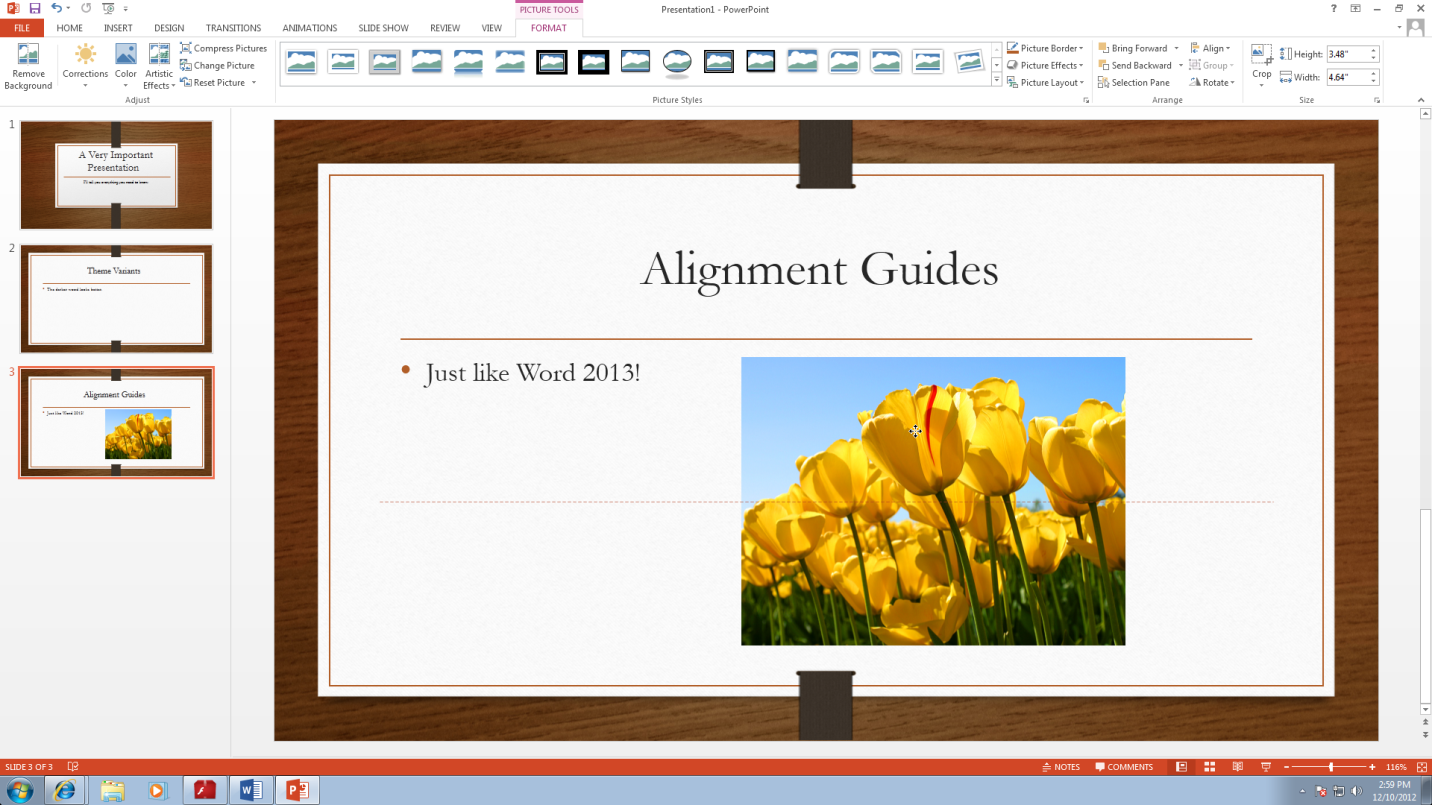 Alignment Guides work the same way in PowerPoint as they do in Word.